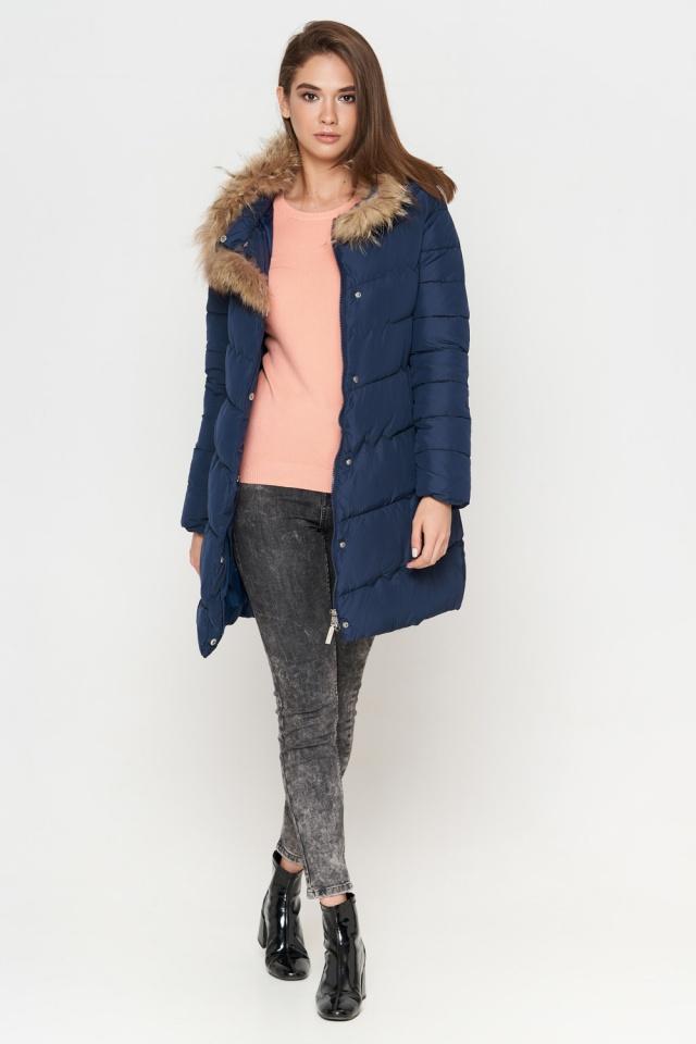 Куртка синяя женская зимняя качественного пошива модель 9087