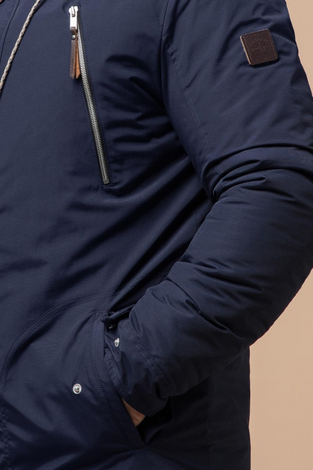 Парка синя чоловіча зимова стандартної довжини модель 43015