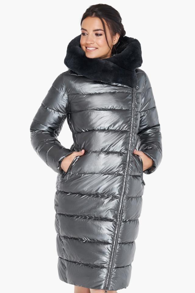 """Куртка стильная женская цвет тёмное серебро модель 31049 Braggart """"Angel's Fluff"""" фото 3"""