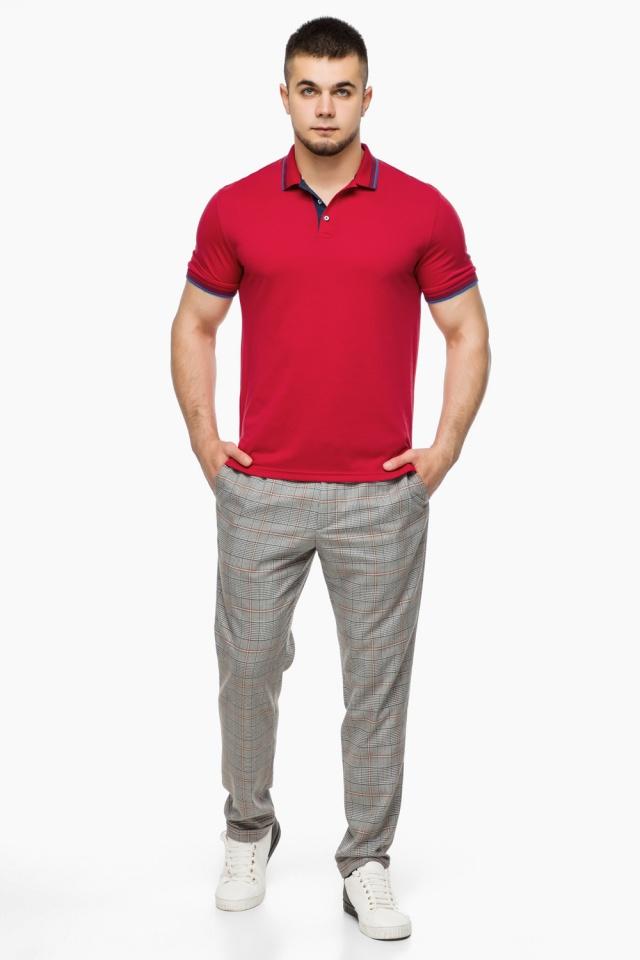 Мужская красная футболка поло модель 6584