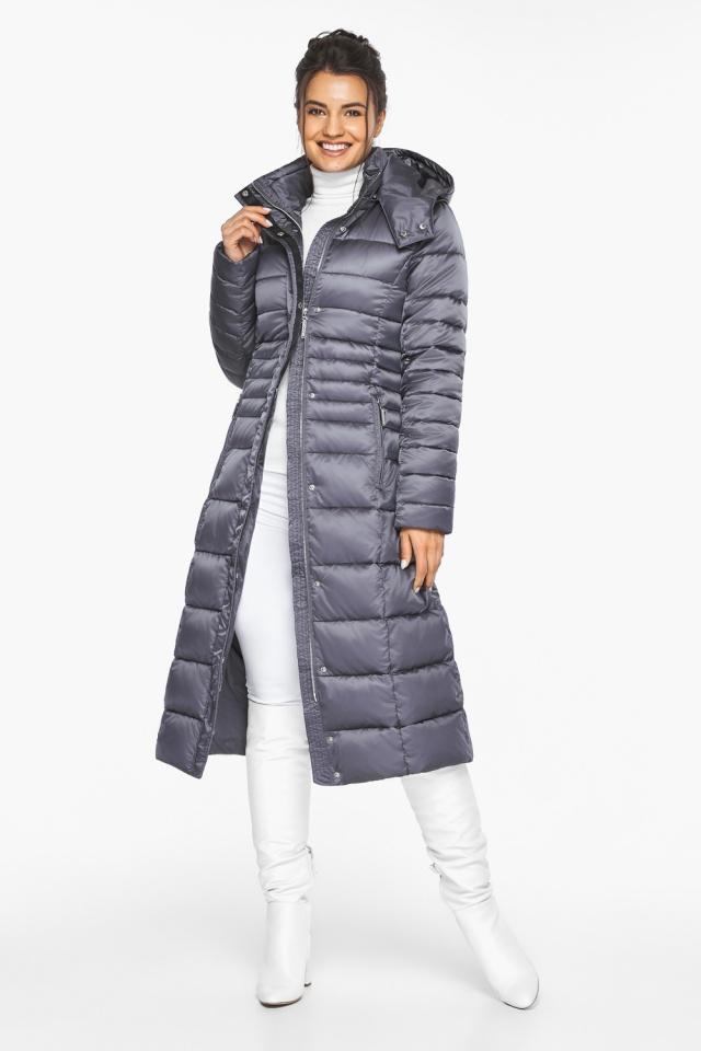 Женская длинная куртка зимняя цвет жемчужно-серый модель 43575
