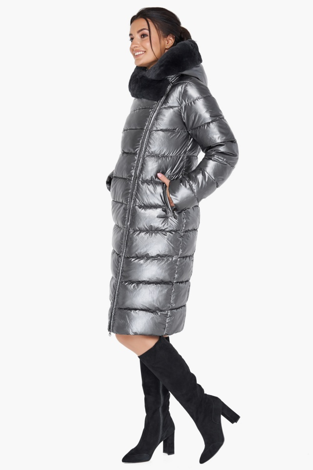 """Куртка стильная женская цвет тёмное серебро модель 31049 Braggart """"Angel's Fluff"""" фото 4"""