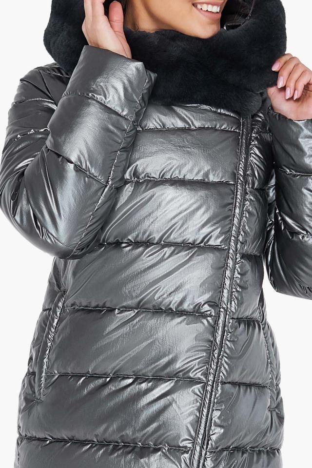 """Куртка стильная женская цвет тёмное серебро модель 31049 Braggart """"Angel's Fluff"""" фото 7"""