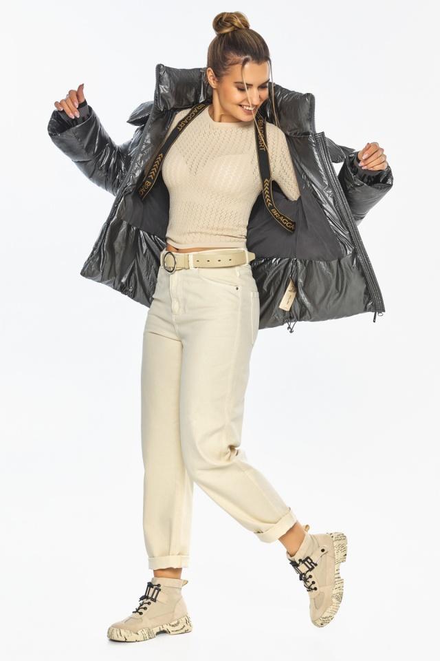 """Женская куртка трендовая цвет тёмное серебро модель 41975 Braggart """"Angel's Fluff"""" фото 3"""