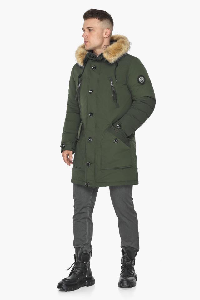 """Куртка – воздуховик модный мужской зимний цвет хаки модель 30118 Braggart """"Angel's Fluff Man"""" фото 6"""
