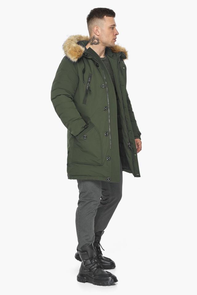 """Куртка – воздуховик модный мужской зимний цвет хаки модель 30118 Braggart """"Angel's Fluff Man"""" фото 4"""