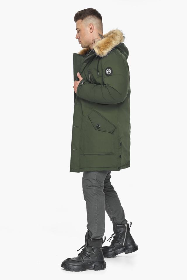 """Куртка – воздуховик модный мужской зимний цвет хаки модель 30118 Braggart """"Angel's Fluff Man"""" фото 7"""