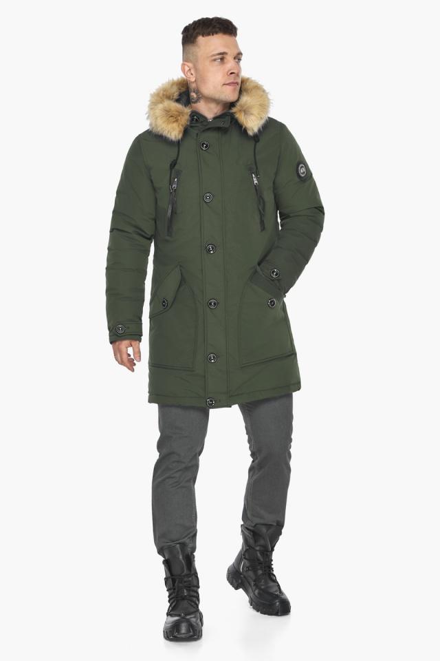 """Куртка – воздуховик модный мужской зимний цвет хаки модель 30118 Braggart """"Angel's Fluff Man"""" фото 2"""