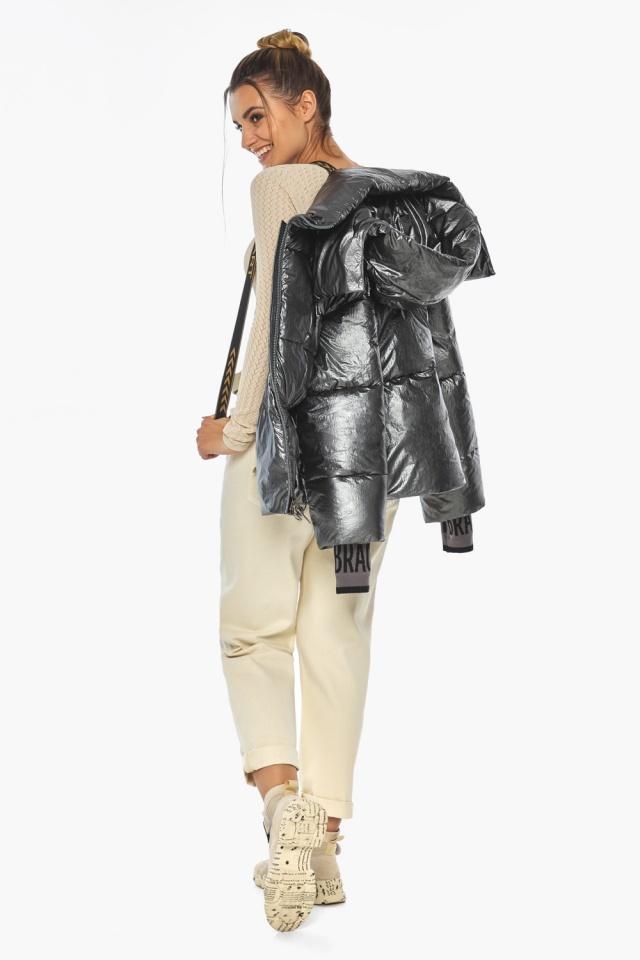 """Женская куртка трендовая цвет тёмное серебро модель 41975 Braggart """"Angel's Fluff"""" фото 6"""