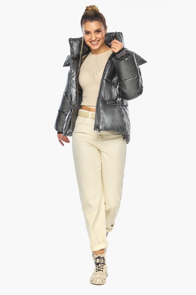 """Женская куртка трендовая цвет тёмное серебро модель 41975 Braggart """"Angel's Fluff"""" фото 5"""