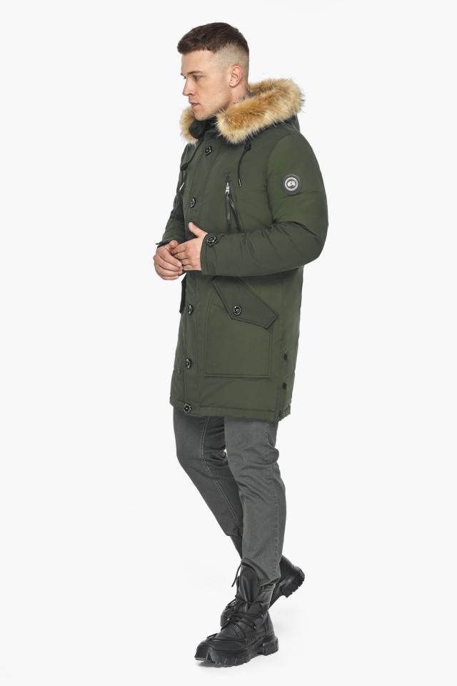 """Куртка – воздуховик модный мужской зимний цвет хаки модель 30118 Braggart """"Angel's Fluff Man"""" фото 8"""