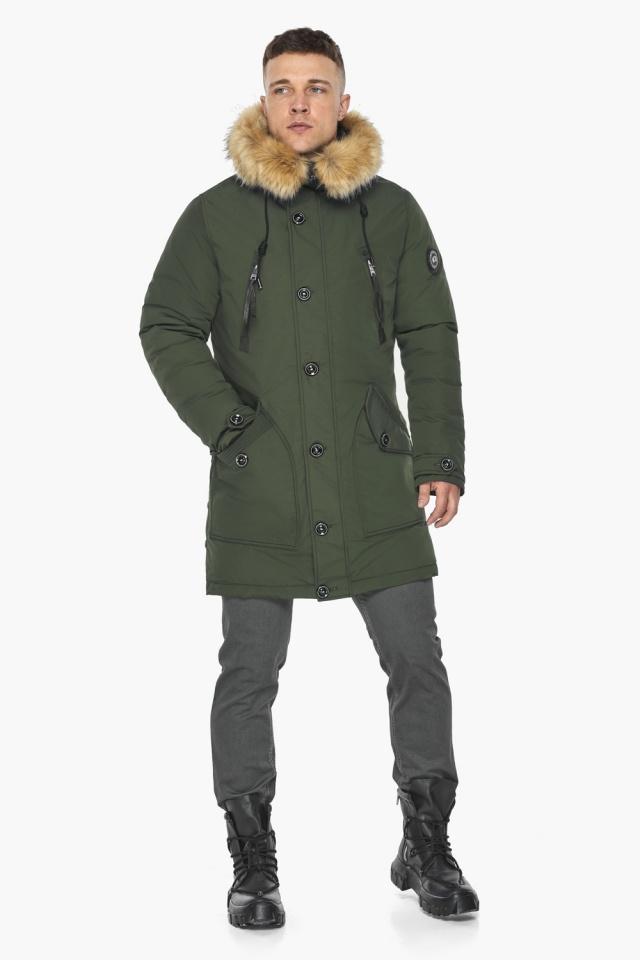 """Куртка – воздуховик модный мужской зимний цвет хаки модель 30118 Braggart """"Angel's Fluff Man"""" фото 3"""
