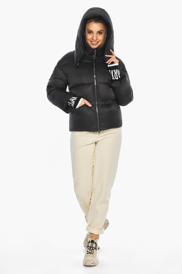 """Куртка с брендовой фурнитурой чёрная женская модель 41975 Braggart """"Angel's Fluff"""" фото 2"""