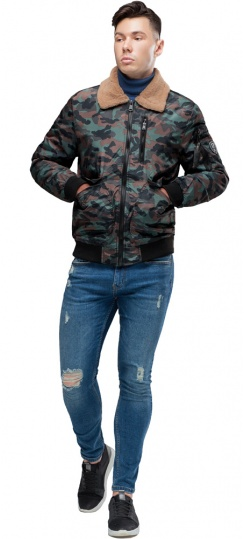 """Бомбер с воротником подростковый осень цвет хаки модель 38666 Braggart """"Youth"""" фото 1"""