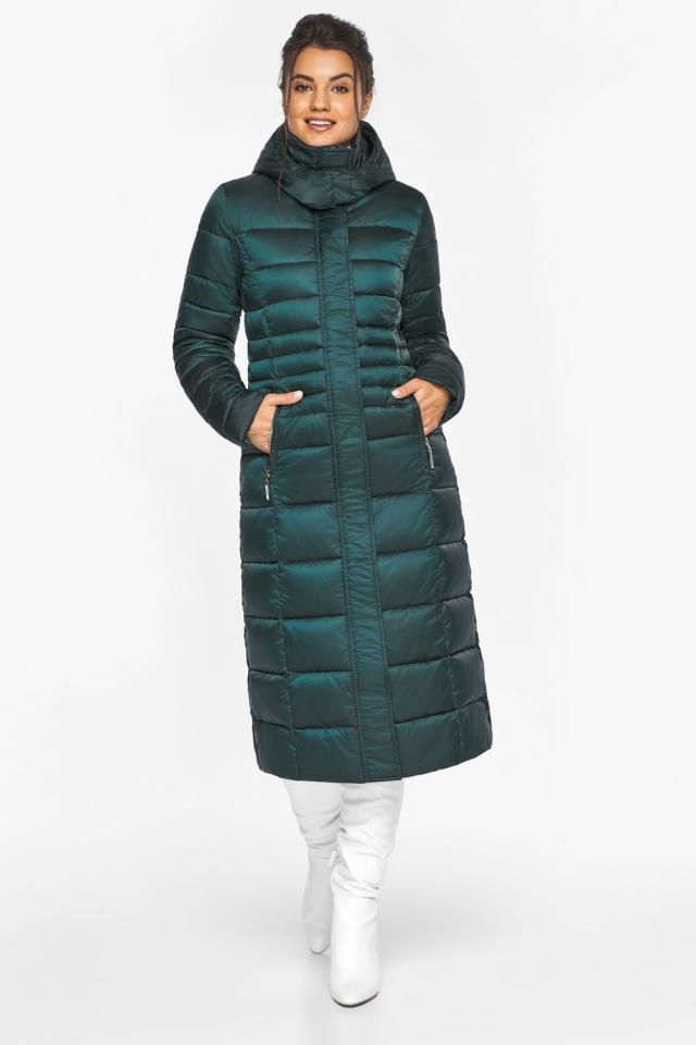 """Изумрудная куртка женская на зиму с прорезными карманами модель 43575 Braggart """"Angel's Fluff"""" фото 2"""