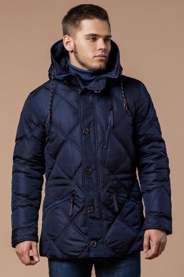 Зимняя темно-синяя куртка с пуговицами мужская модель 12481