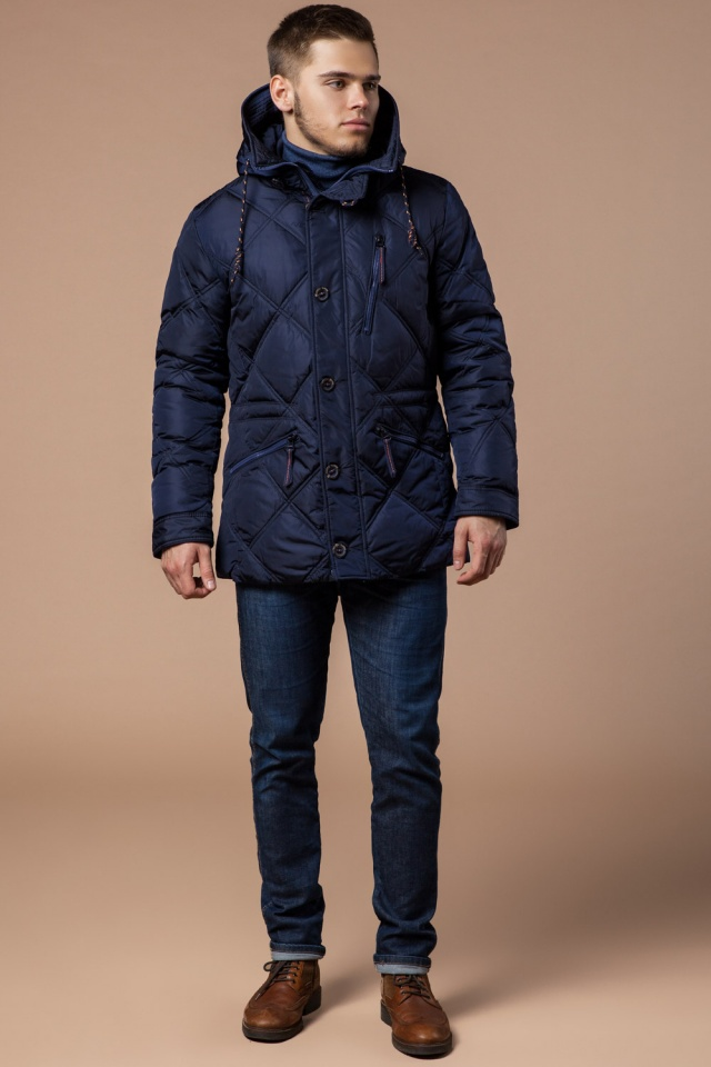 """Теплая зимняя курточка мужская тёмно-синяя модель 12481 Braggart """"Dress Code"""" фото 4"""