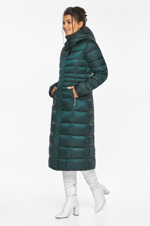 """Изумрудная куртка женская на зиму с прорезными карманами модель 43575 Braggart """"Angel's Fluff"""" фото 7"""