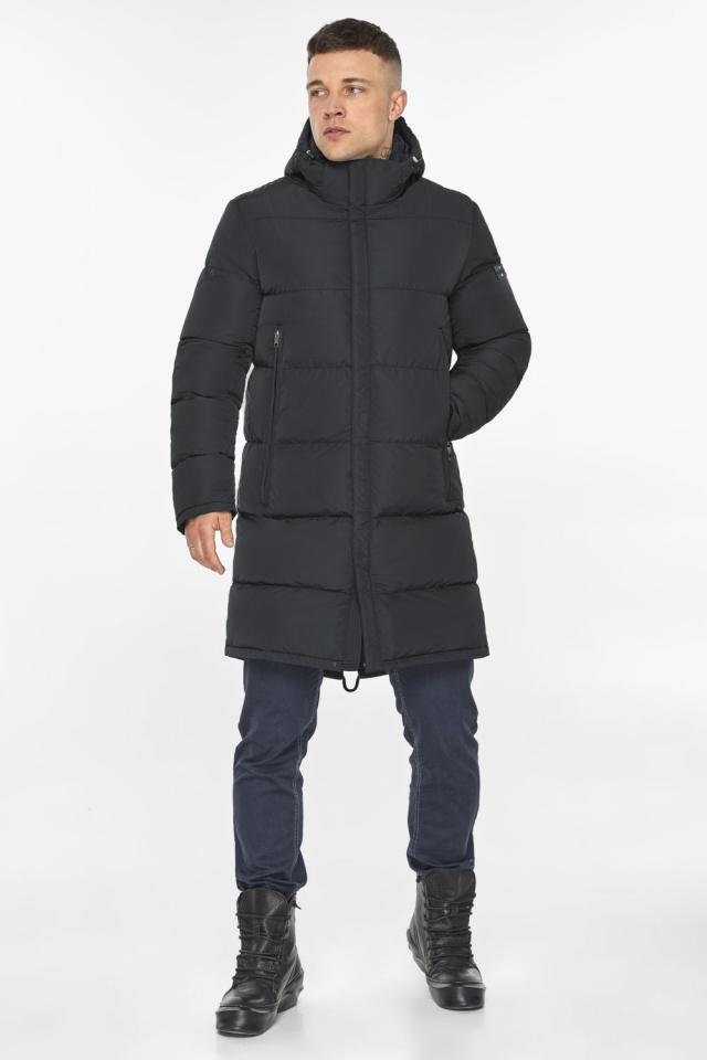 """Мужская куртка на молнии графитово-синяя зимняя модель 49438 Braggart """"Dress Code"""" фото 4"""