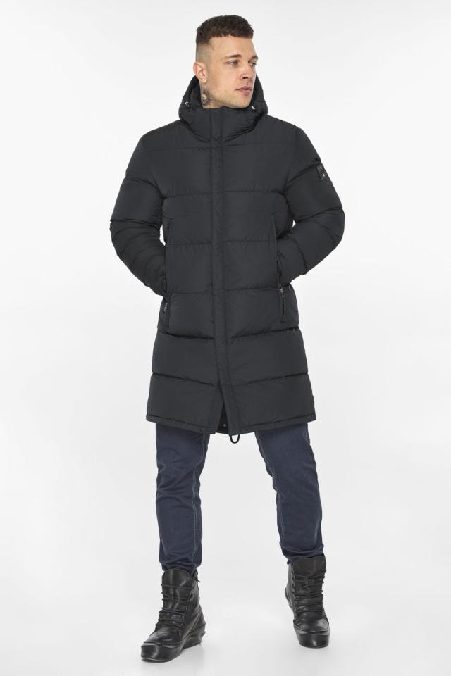 """Мужская куртка на молнии графитово-синяя зимняя модель 49438 Braggart """"Dress Code"""" фото 2"""