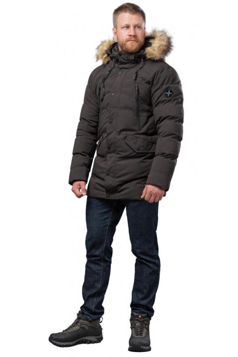 Мужская куртка цвета кофе зимняя модель 72160 Tiger Force фото 1