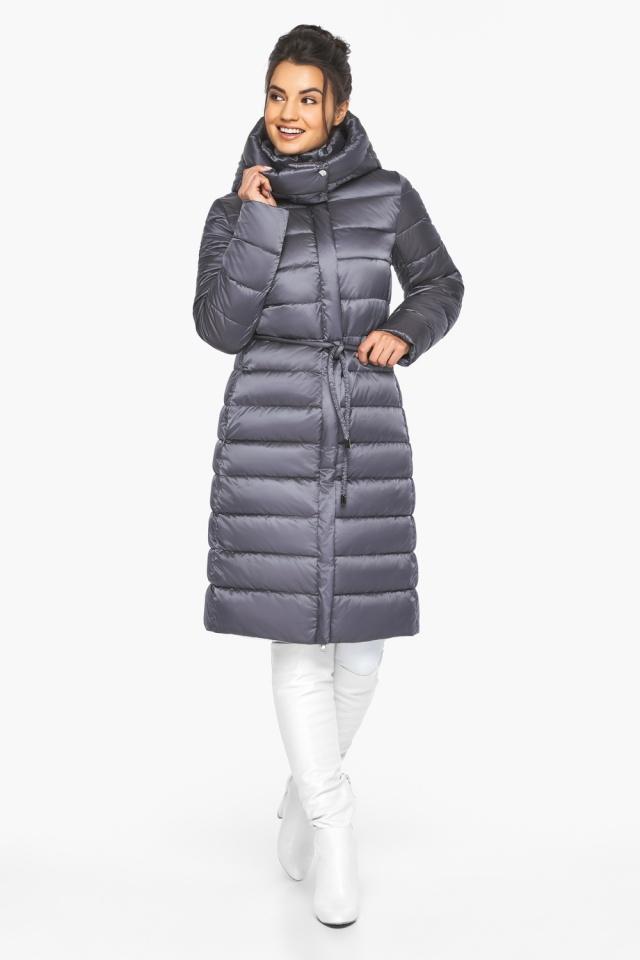 """Жемчужно-серая куртка женская зимняя длинная модель 44860 Braggart """"Angel's Fluff"""" фото 2"""