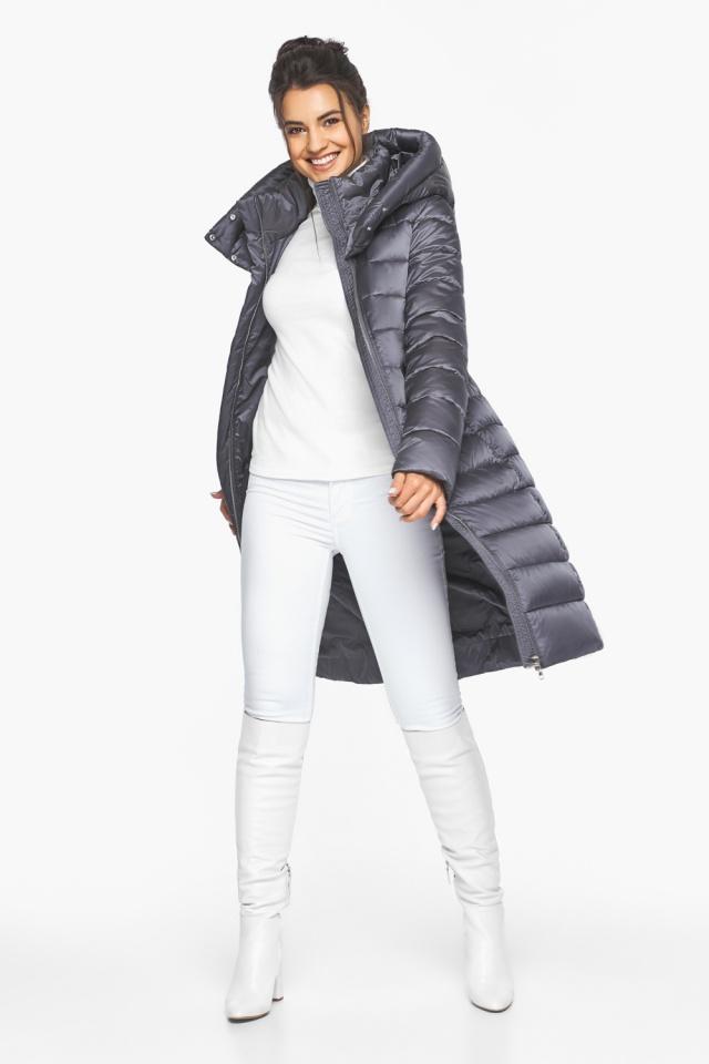 """Жемчужно-серая куртка женская зимняя длинная модель 44860 Braggart """"Angel's Fluff"""" фото 3"""