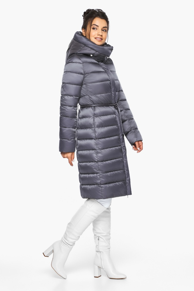 Жемчужно-серая куртка женская зимняя длинная модель 44860