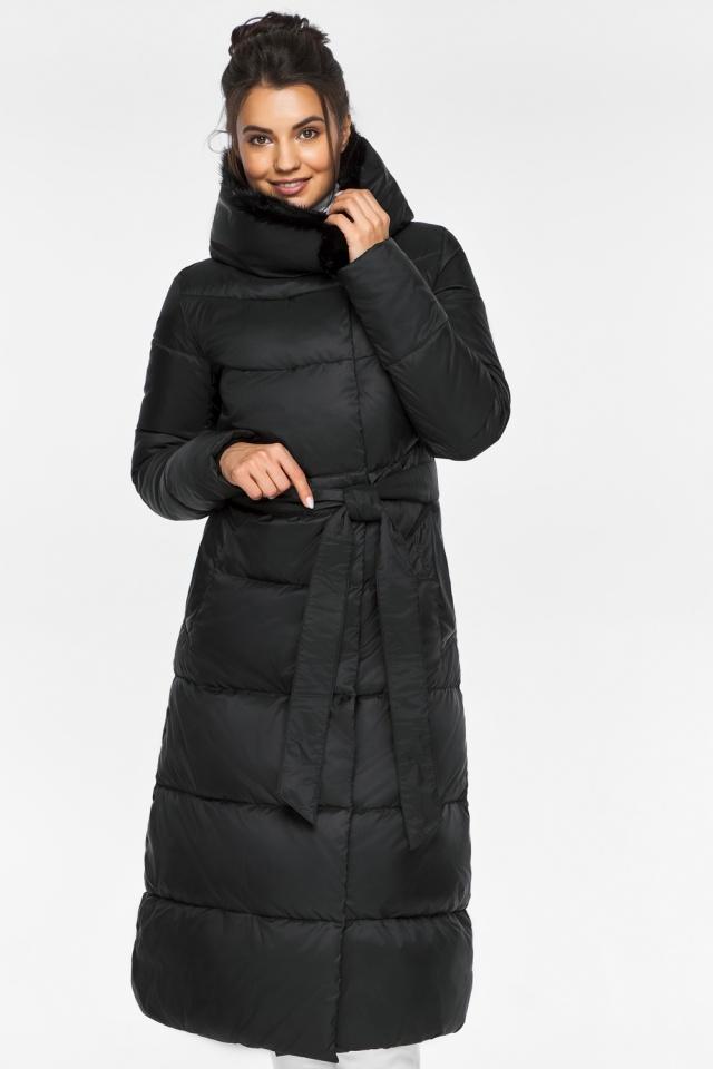 """Куртка с прорезными карманами женская зимняя черная модель 45085 Braggart """"Angel's Fluff"""" фото 3"""