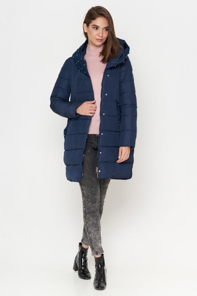 Зимняя куртка синяя женская стильная модель 9105