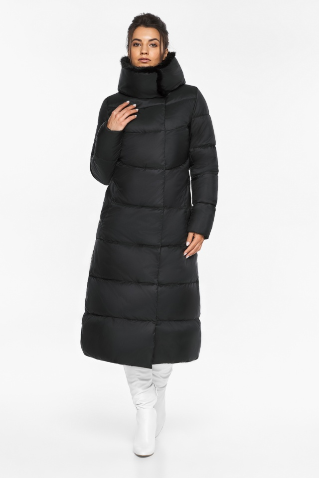"""Куртка с прорезными карманами женская зимняя черная модель 45085 Braggart """"Angel's Fluff"""" фото 4"""
