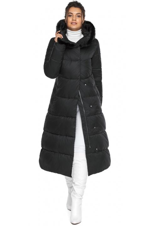 """Куртка с прорезными карманами женская зимняя черная модель 45085 Braggart """"Angel's Fluff"""" фото 1"""