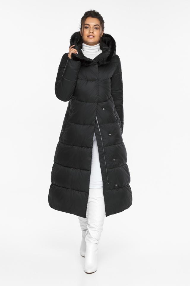 """Куртка с прорезными карманами женская зимняя черная модель 45085 Braggart """"Angel's Fluff"""" фото 2"""