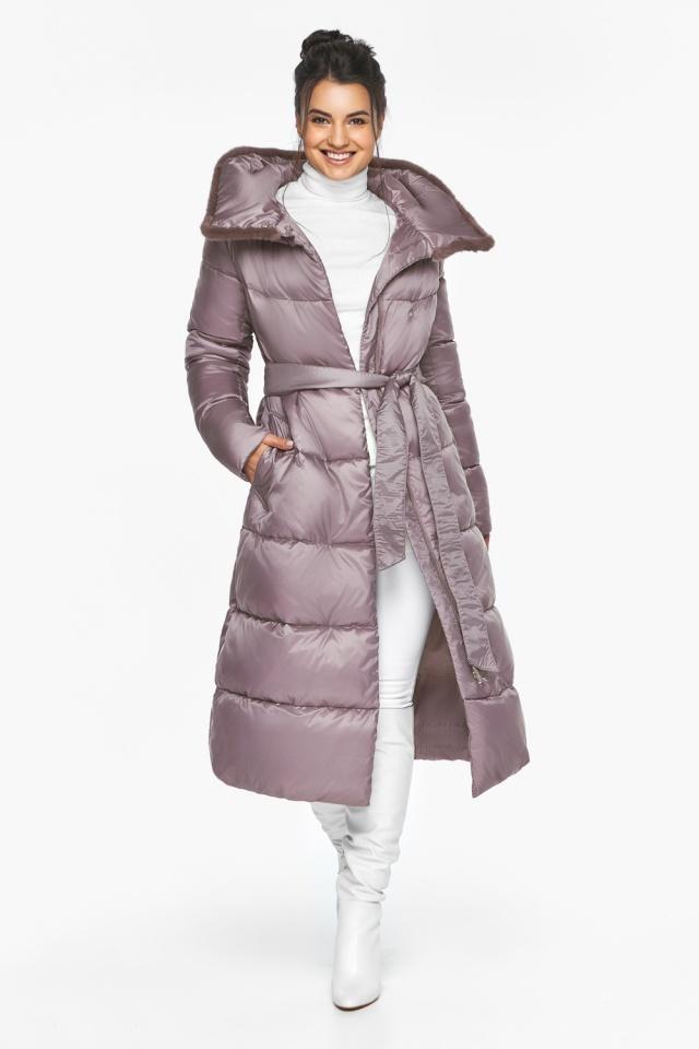 Женская куртка зимняя удобного фасона цвет пудра модель 45085