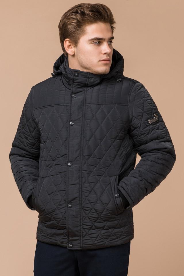 """Зимняя стёганая ромбами куртка мужская графитовая модель 24534 Braggart """"Dress Code"""" фото 4"""
