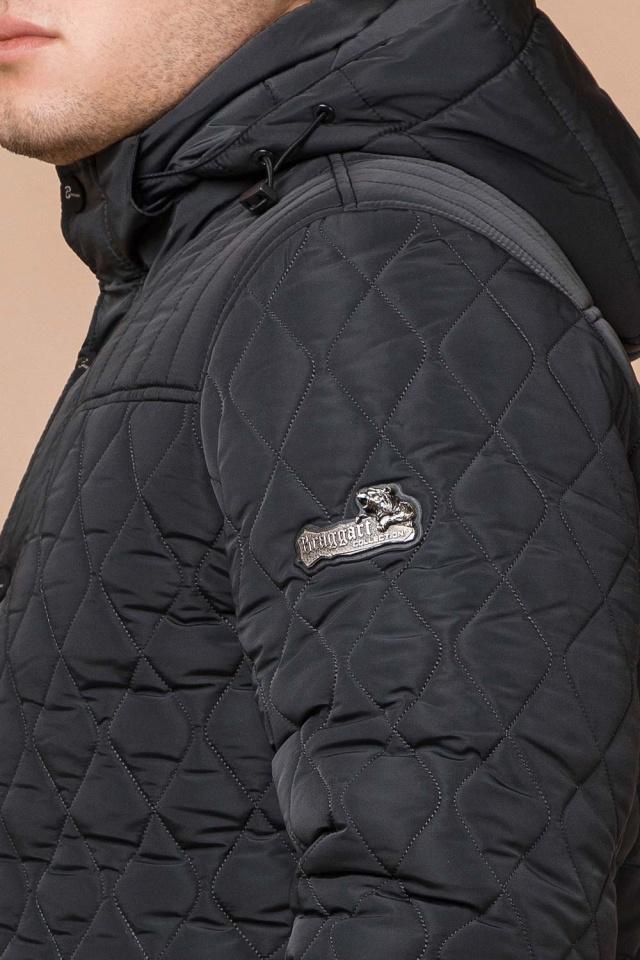 """Зимняя стёганая ромбами куртка мужская графитовая модель 24534 Braggart """"Dress Code"""" фото 8"""