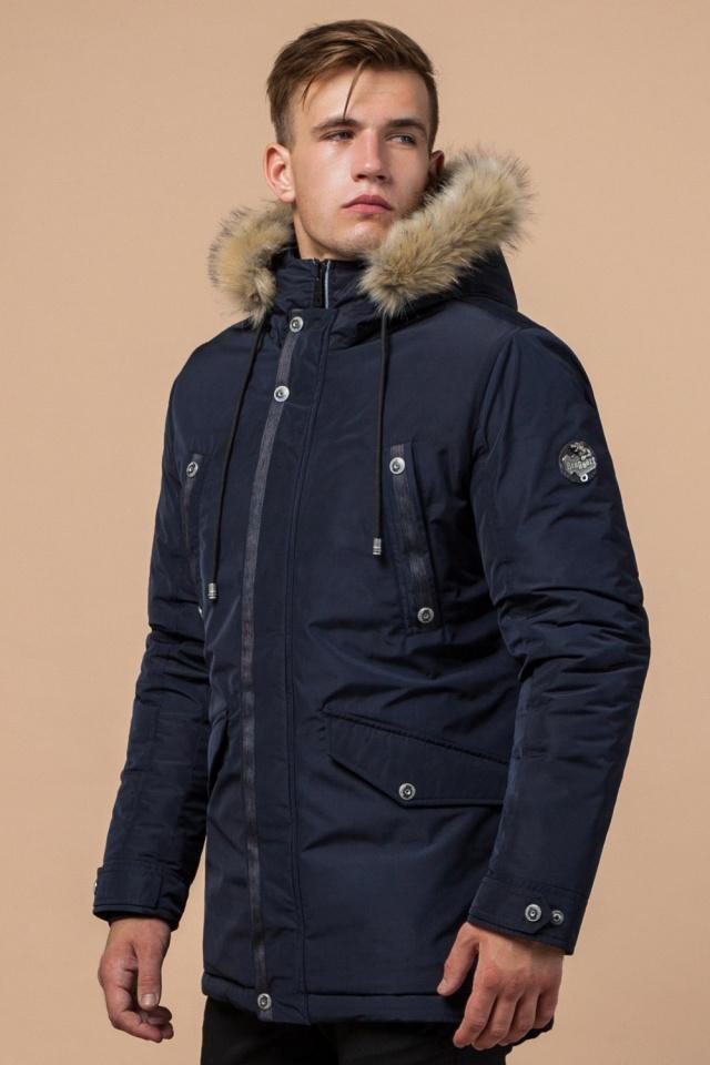"""Синяя мужская теплая зимняя парка модель 27830 Braggart """"Dress Code"""" фото 3"""