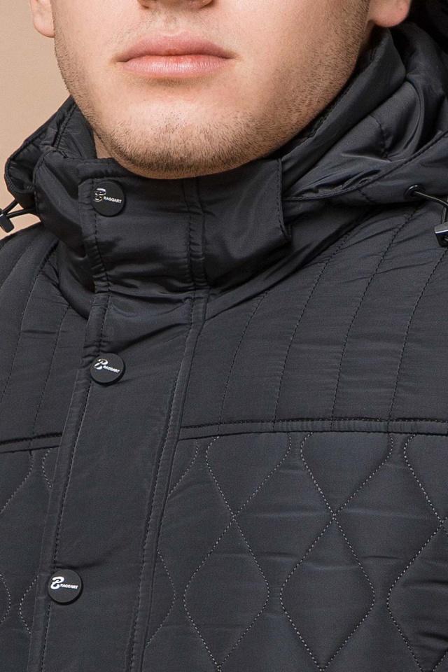 """Зимняя стёганая ромбами куртка мужская графитовая модель 24534 Braggart """"Dress Code"""" фото 6"""