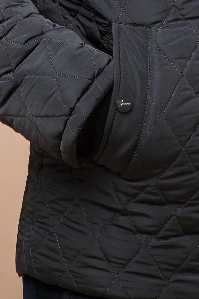 """Зимняя стёганая ромбами куртка мужская графитовая модель 24534 Braggart """"Dress Code"""" фото 7"""