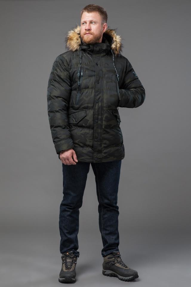Дизайнерская куртка зимняя темно-зеленая для мужчин модель 76029 Tiger Force фото 2