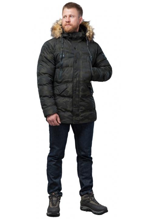 Дизайнерская куртка зимняя темно-зеленая для мужчин модель 76029 Tiger Force фото 1