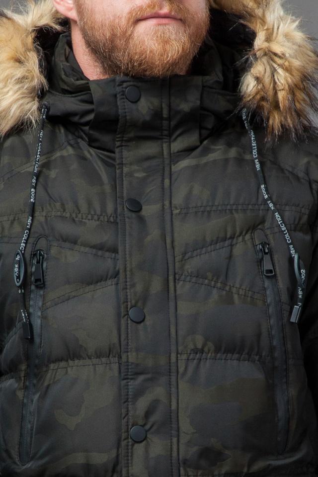 Дизайнерская куртка зимняя темно-зеленая для мужчин модель 76029 Tiger Force фото 6