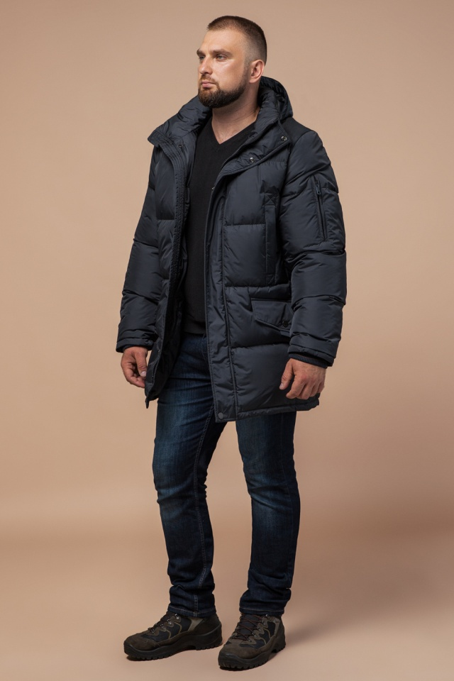 """Стильная куртка мужская зимняя графитовая модель 27055 Braggart """"Dress Code"""" фото 3"""