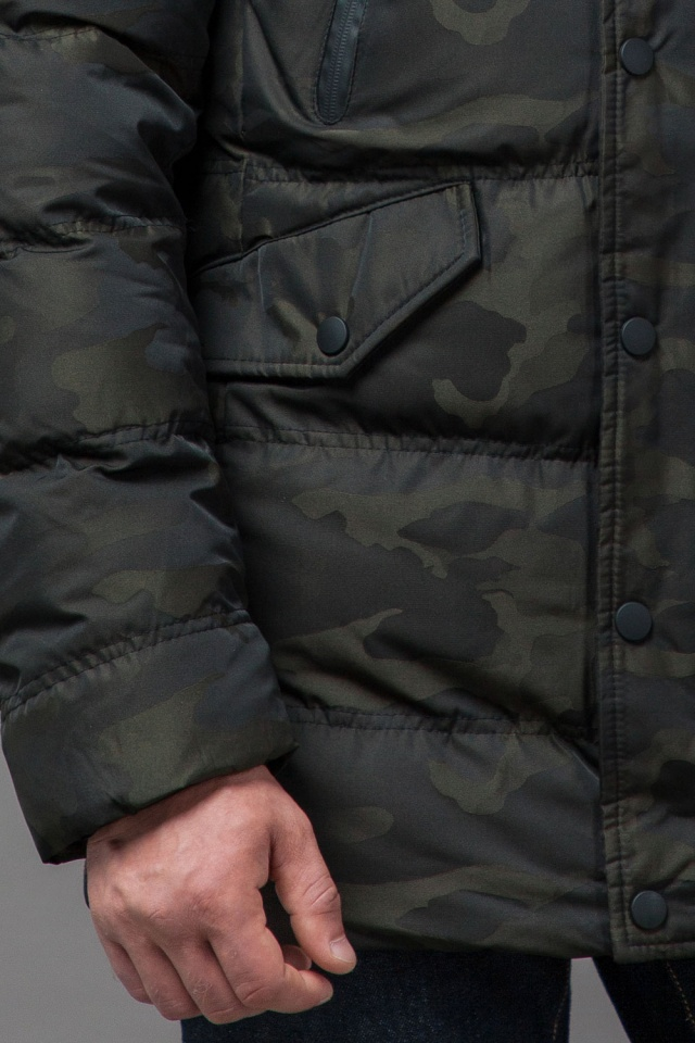 Дизайнерская куртка зимняя темно-зеленая для мужчин модель 76029 Tiger Force фото 7
