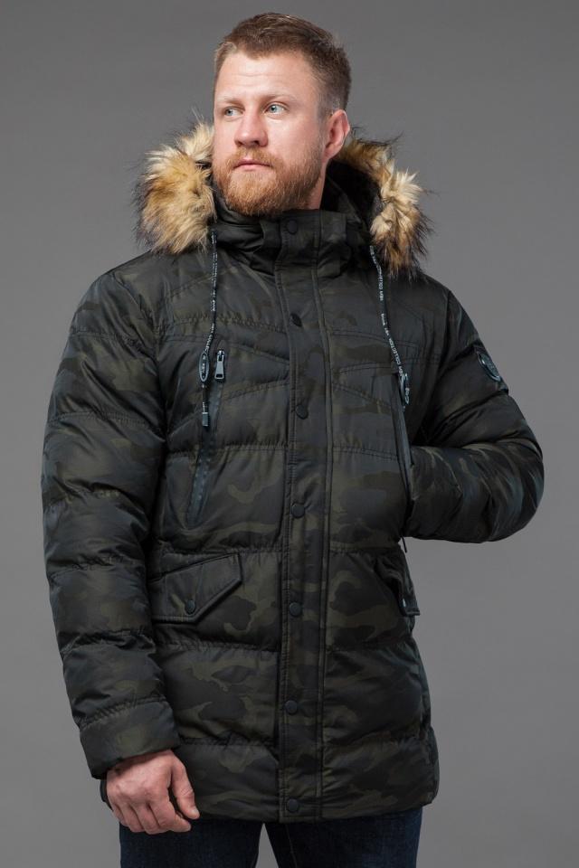 Дизайнерская куртка зимняя темно-зеленая для мужчин модель 76029 Tiger Force фото 4