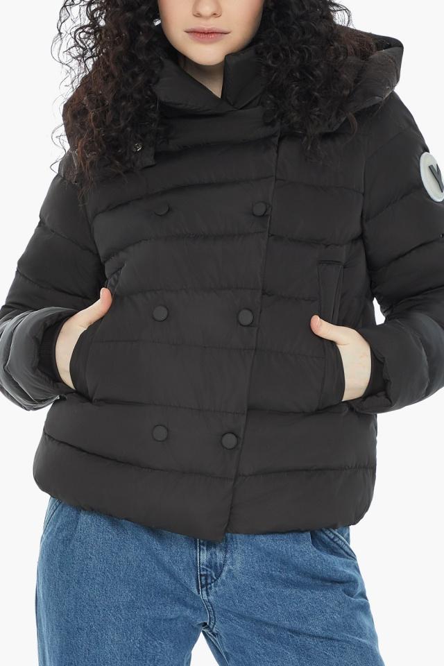 Куртка с прямым укороченным силуэтом для девушки чёрная модель 22150 Youth фото 8