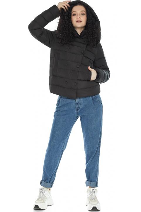 Куртка з прямим укороченим силуетом для дівчини чорна модель 22150 Youth фото 1