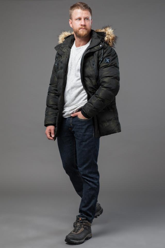 Дизайнерская куртка зимняя темно-зеленая для мужчин модель 76029 Tiger Force фото 3