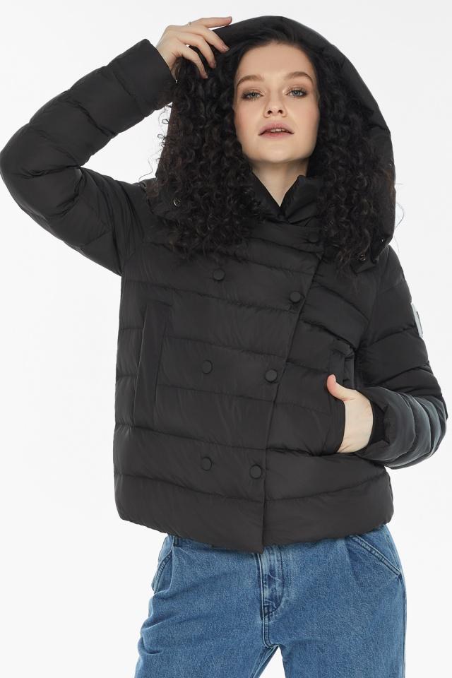 Куртка с прямым укороченным силуэтом для девушки чёрная модель 22150 Youth фото 5