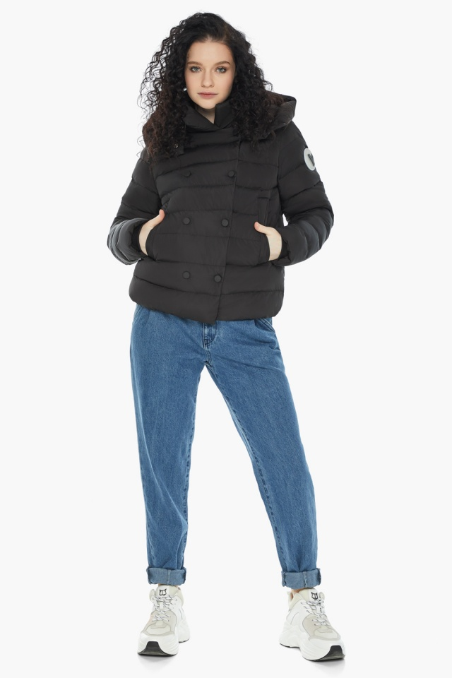 Куртка с прямым укороченным силуэтом для девушки чёрная модель 22150 Youth фото 4